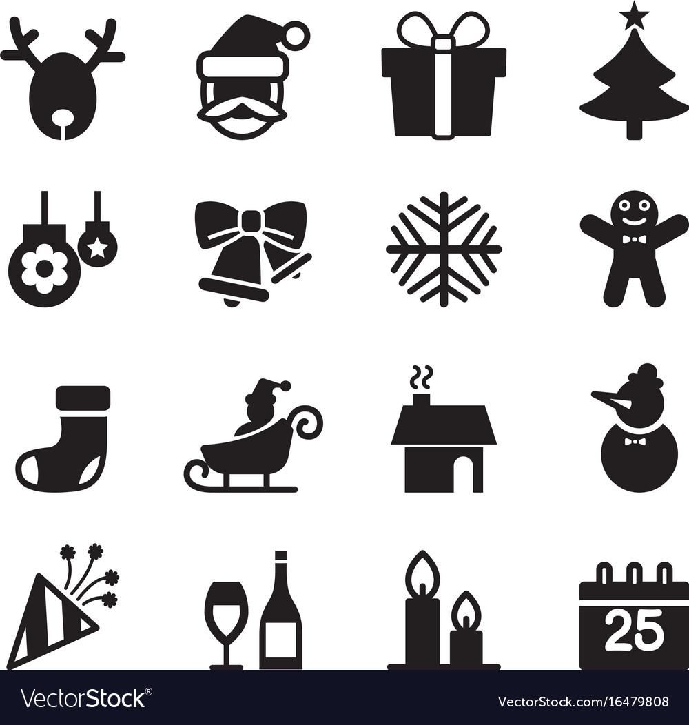 Silhouette christmas icons set