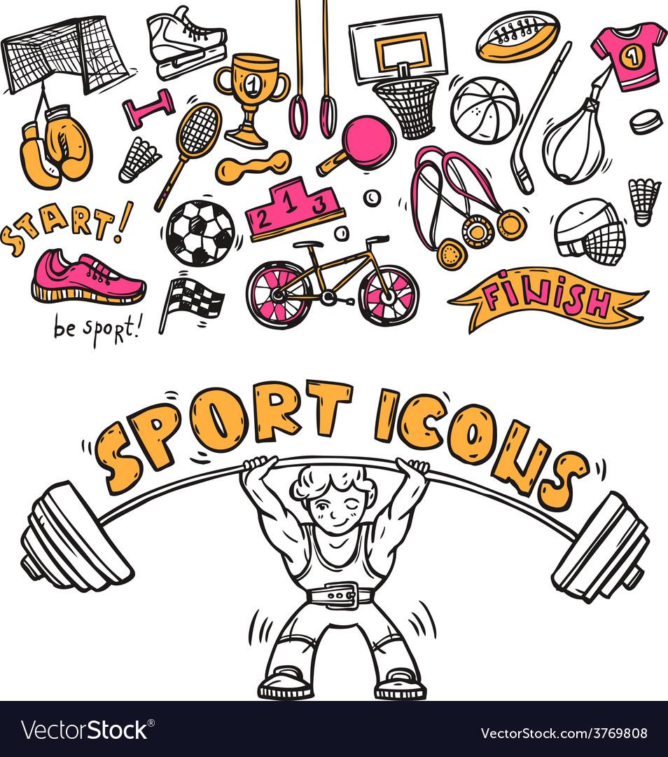 Sport icons doodle sketch
