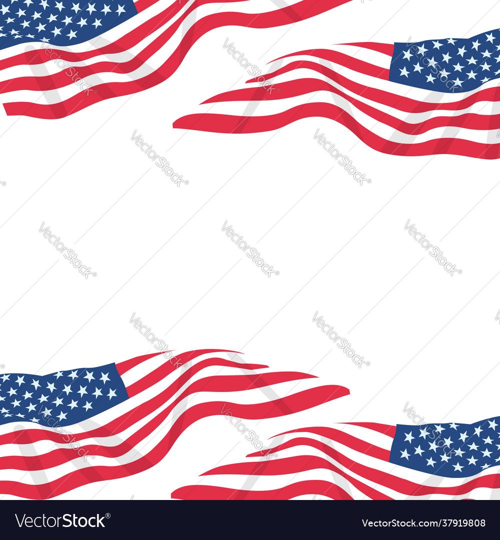 Usa flag in white background