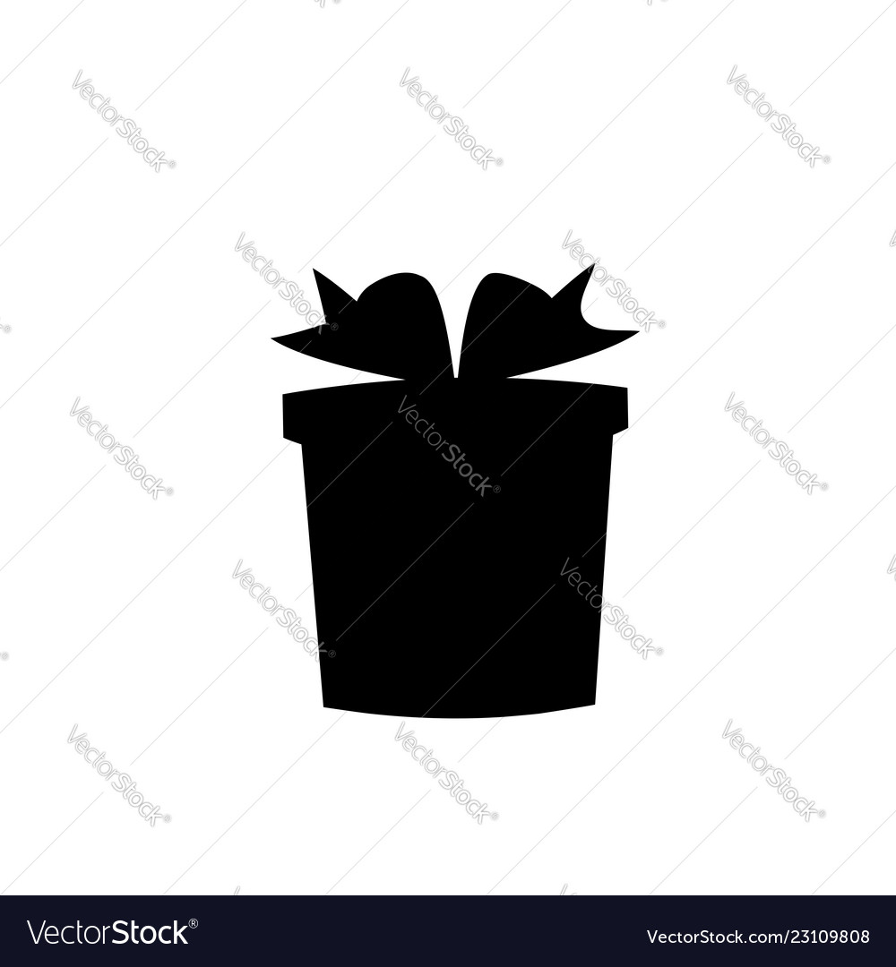 White silhouette of bow wrapped present on black