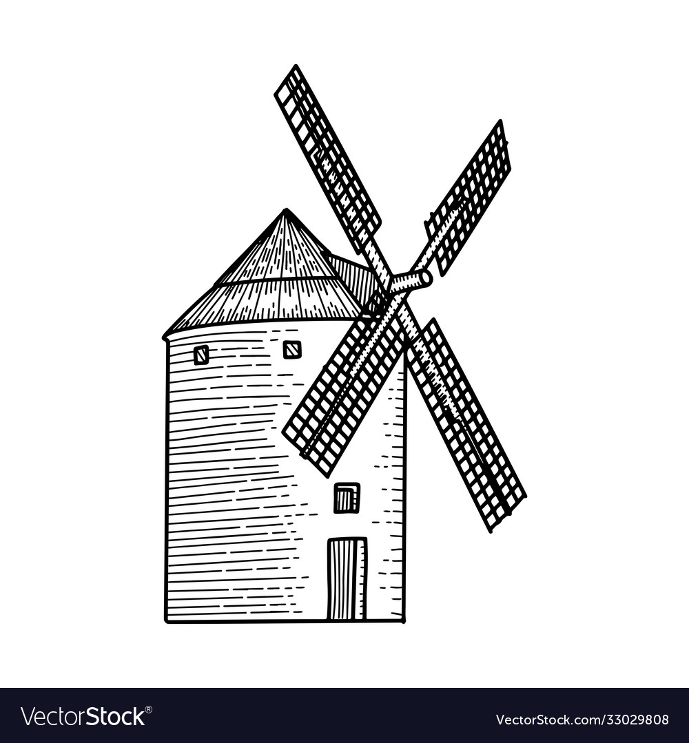 Wind mill windmill hand drawn sketch engraved