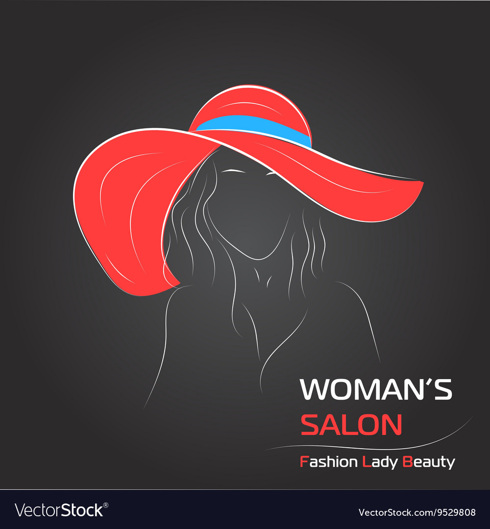 Woman in red hat on black bg