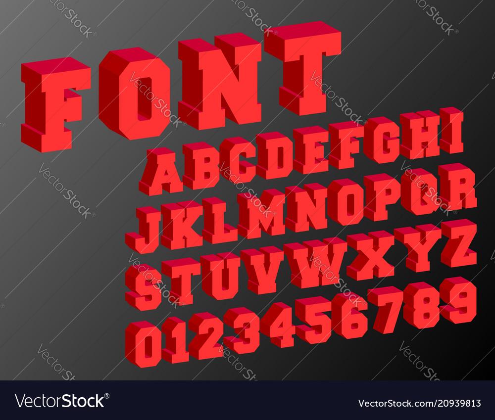 3d alphabet font template