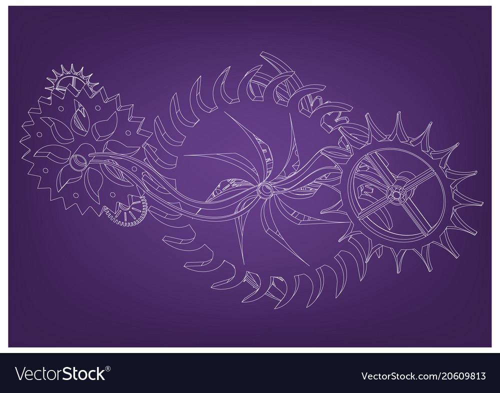 Cogwheels on a purple