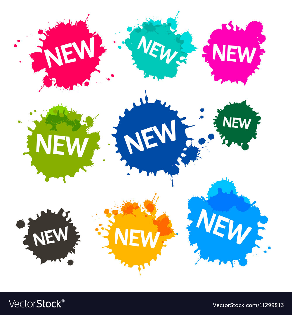 Colorful Blots - Stains - Splashes with New Title vector image