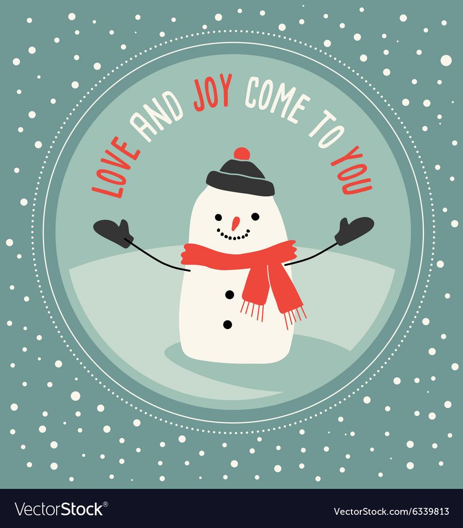 Cute snowman greeting card design