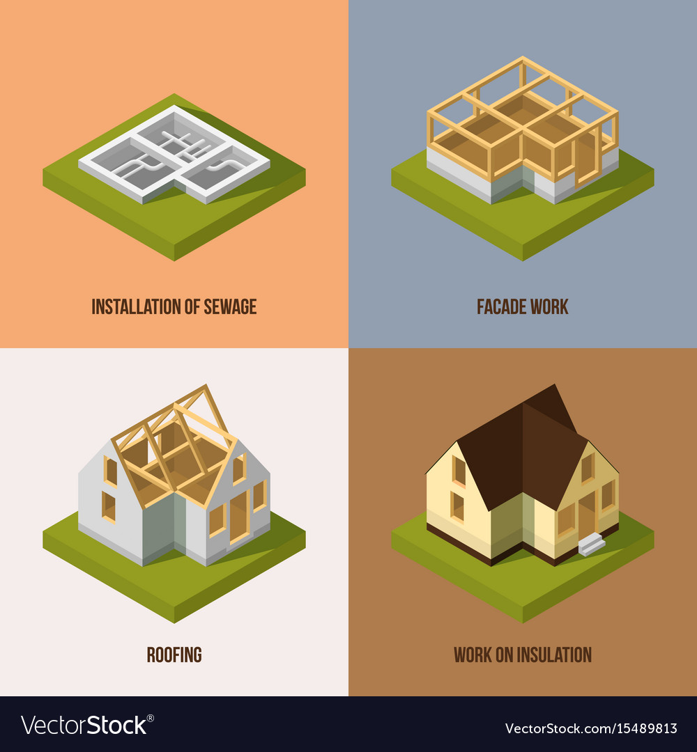 Delightful Different Construction Stages Isometric Vector Image