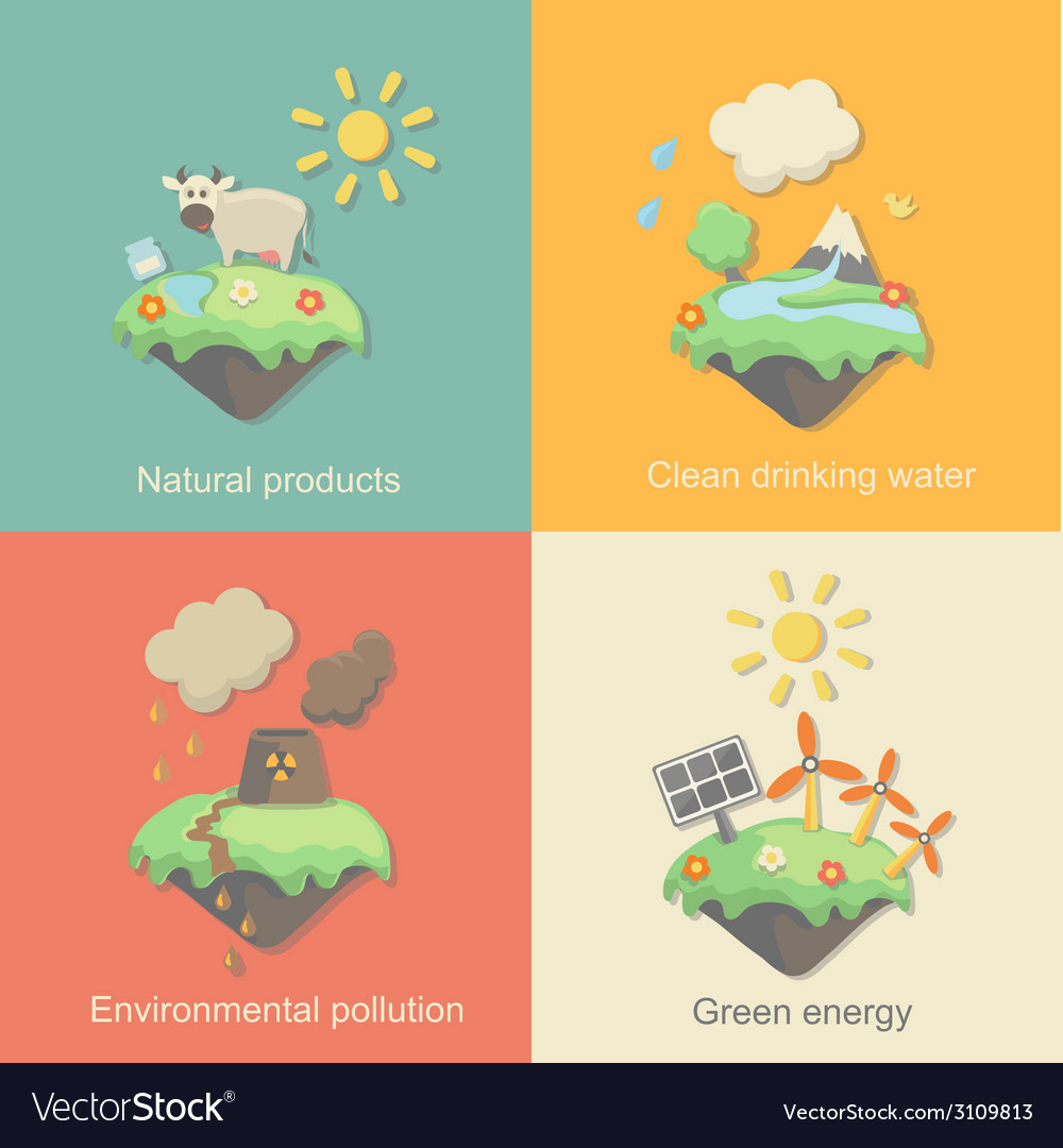 Ecology Concept Icons Set for Environment Green