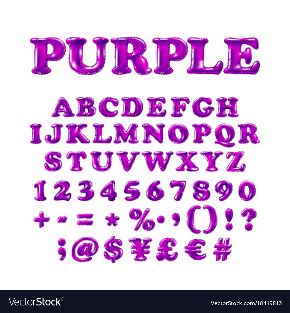 English alphabet and numerals from purple violet