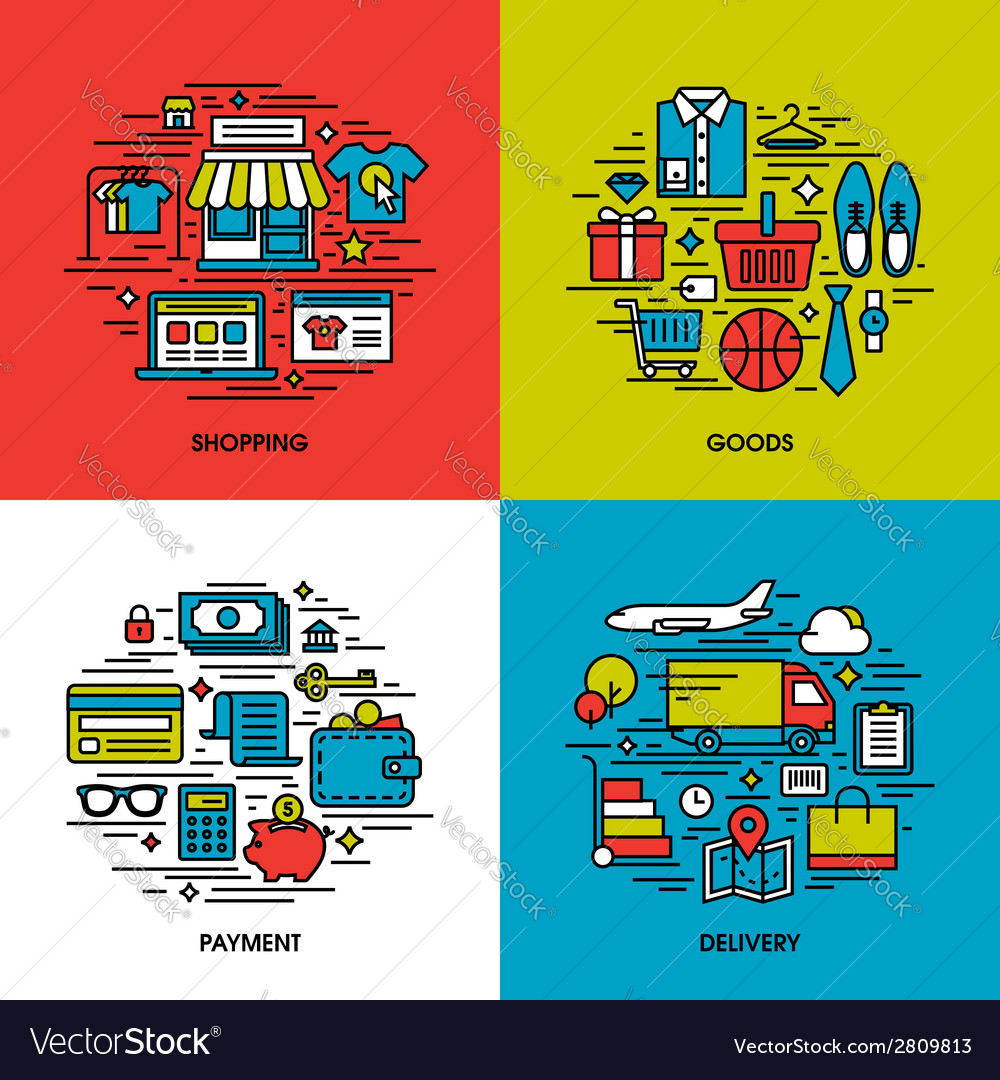 Flat line icons of shopping goods payment delivery