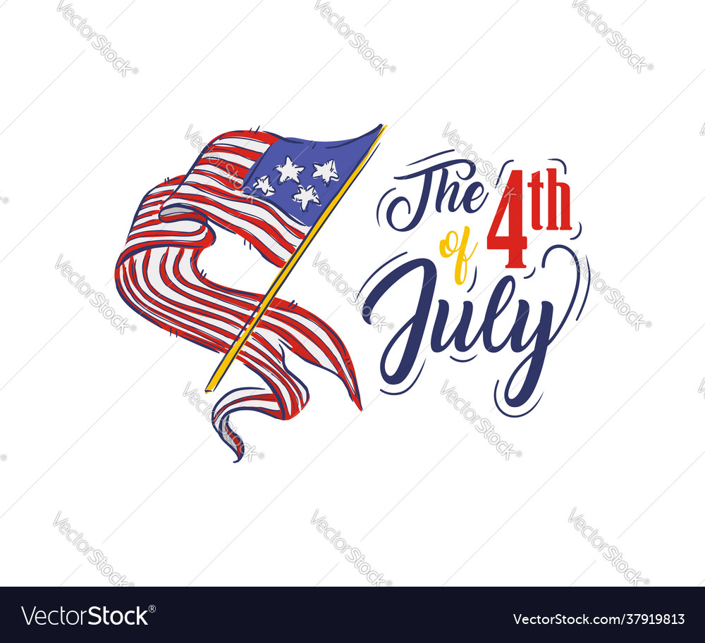Happy independence day womens hand holding flag