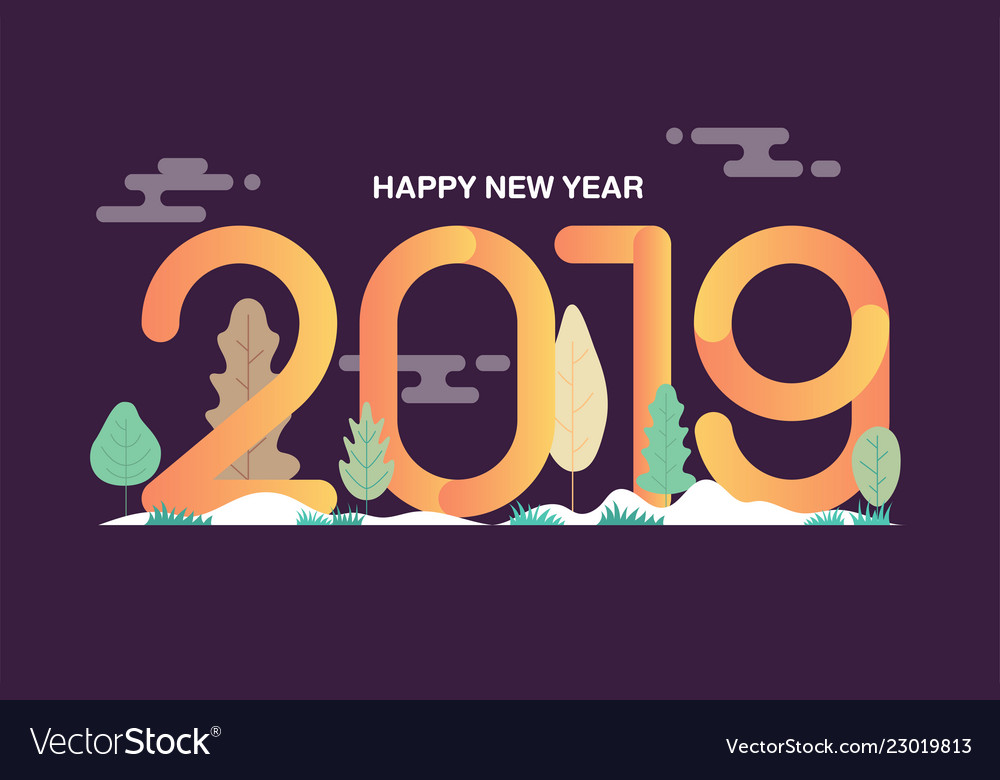 Happy new year 2019 text design with leaves