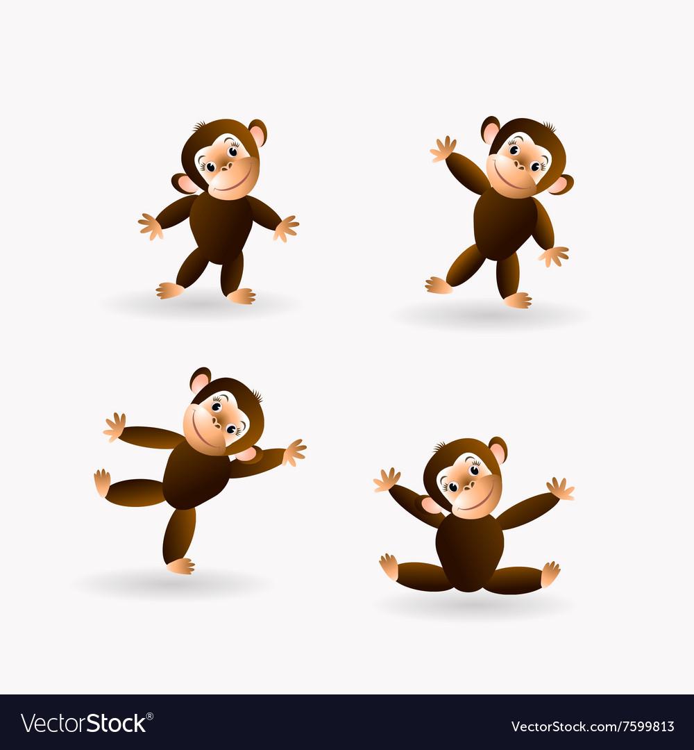 Set of funny monkeys