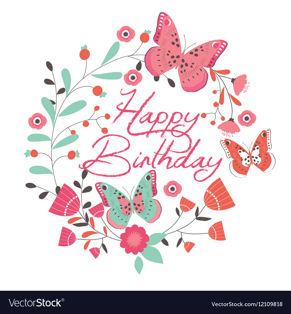 Birthday Card With Beautiful Butterfly And Flowers