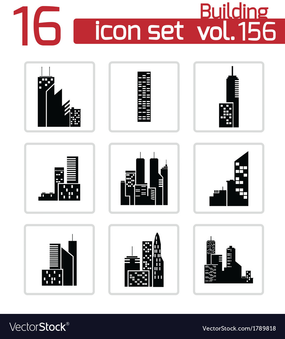 Black building icons set