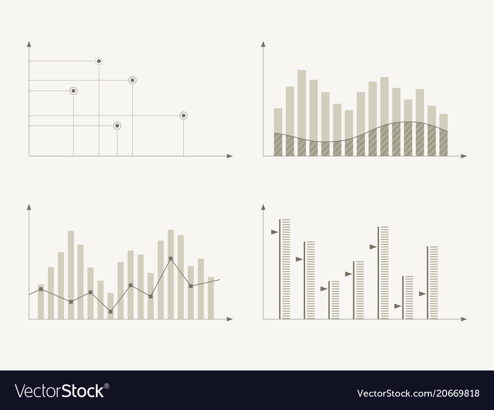 Business charts and graphs infographic elements vector image