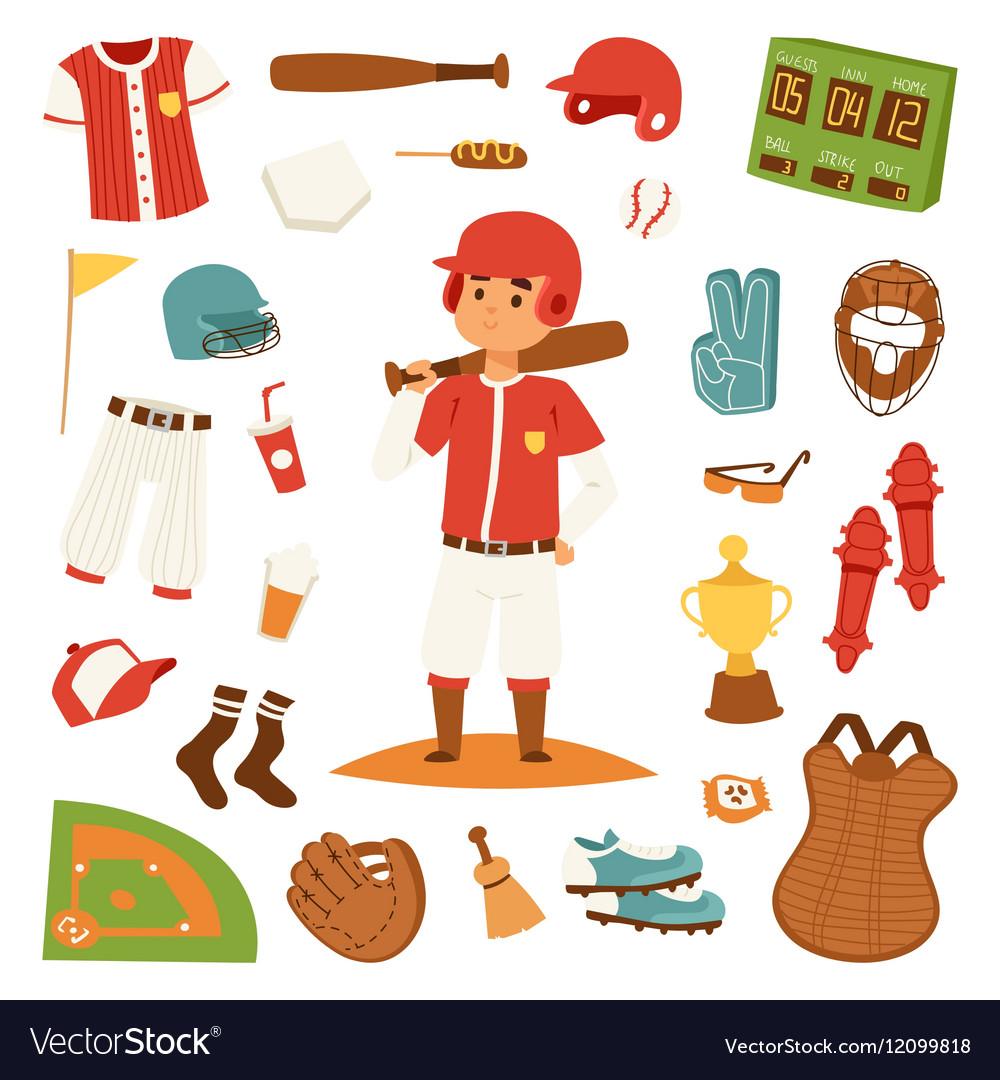 Cartoon baseball player icons batting