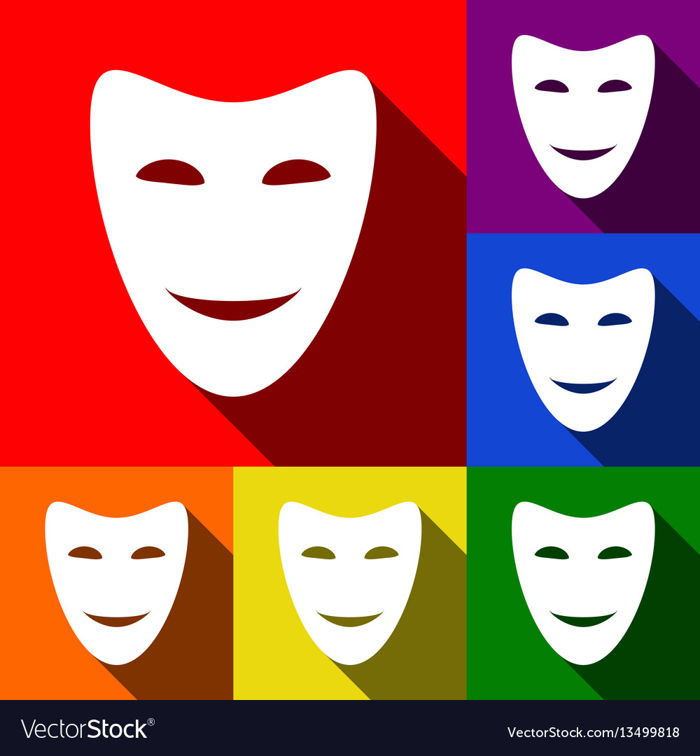 Comedy theatrical masks set of icons with