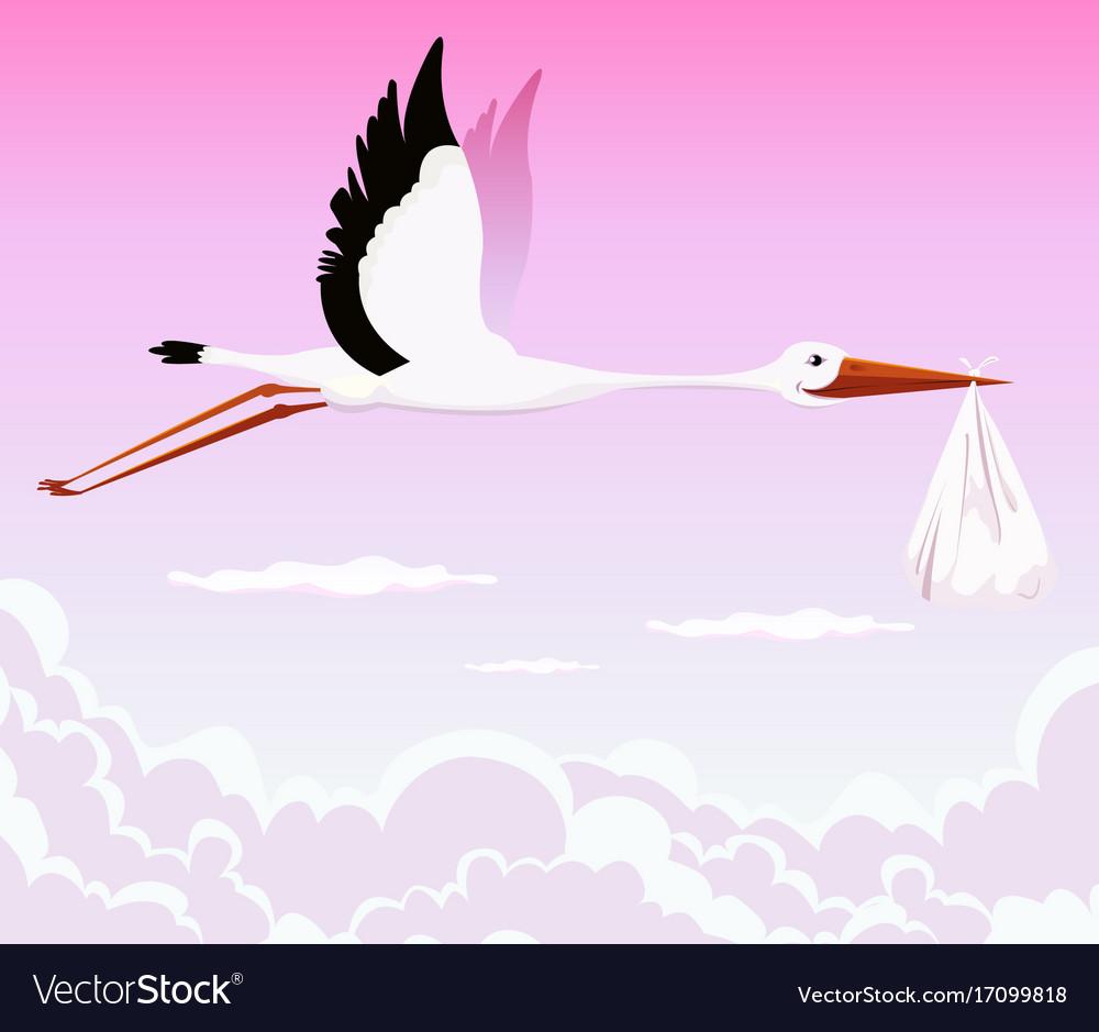Flying stork delivering girl vector image