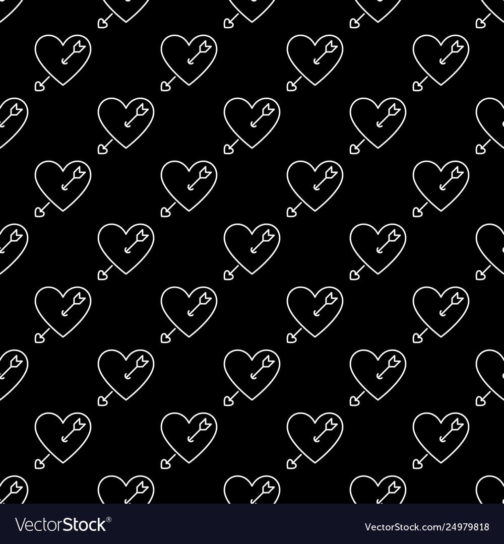 Heart with arrow minimal outline seamless