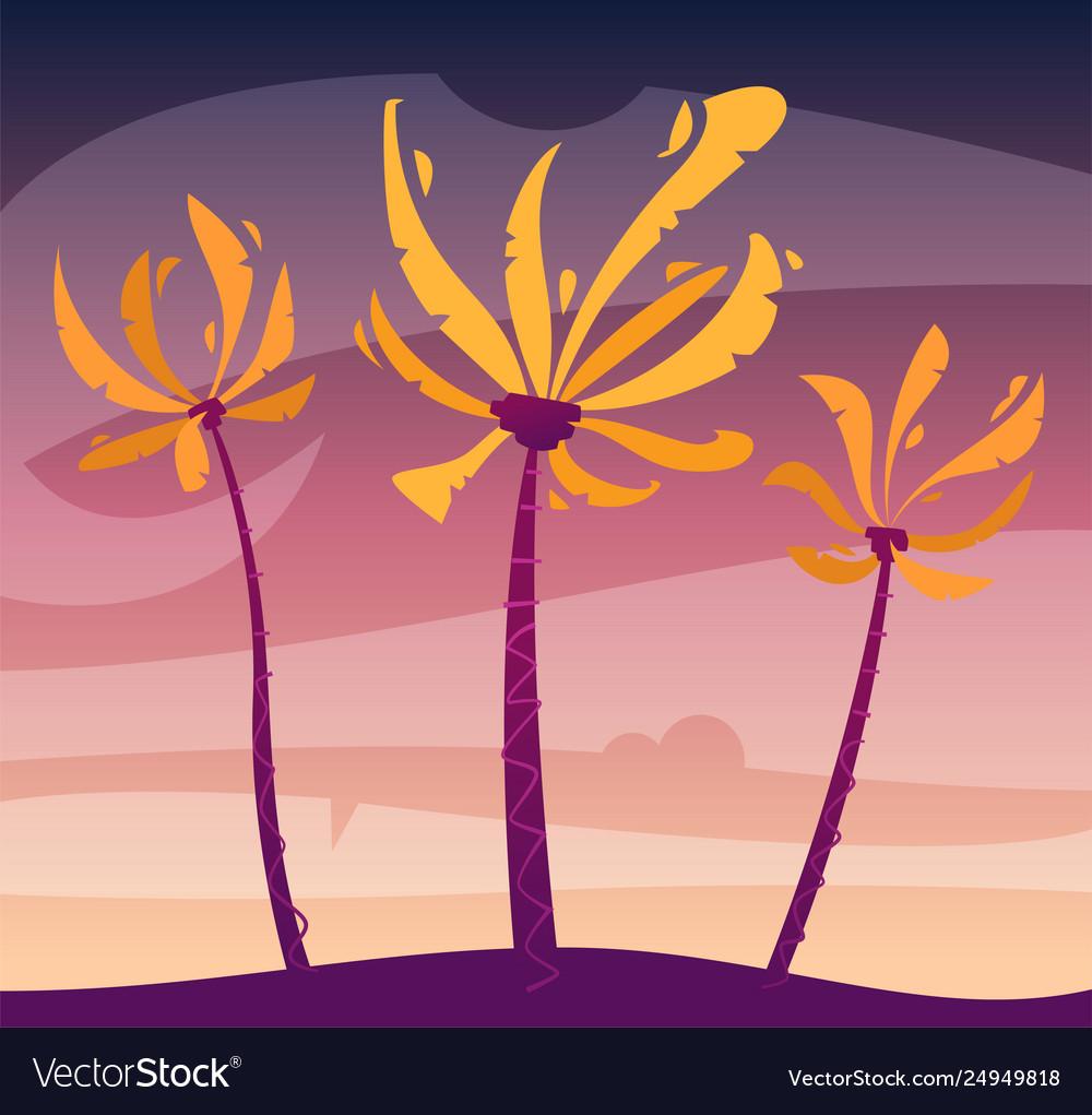 Palms on island sky and sunset cartoon