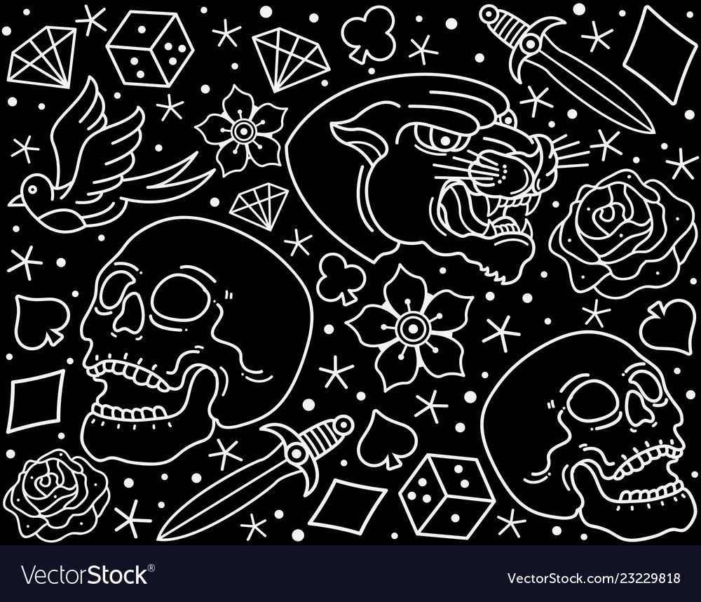 Pattern traditional flash tattoo