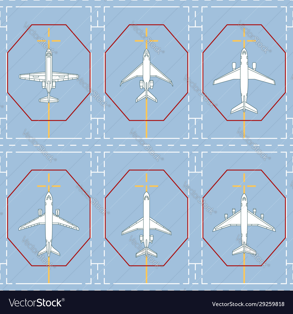 Seamless pattern with passenger airplanes on apron