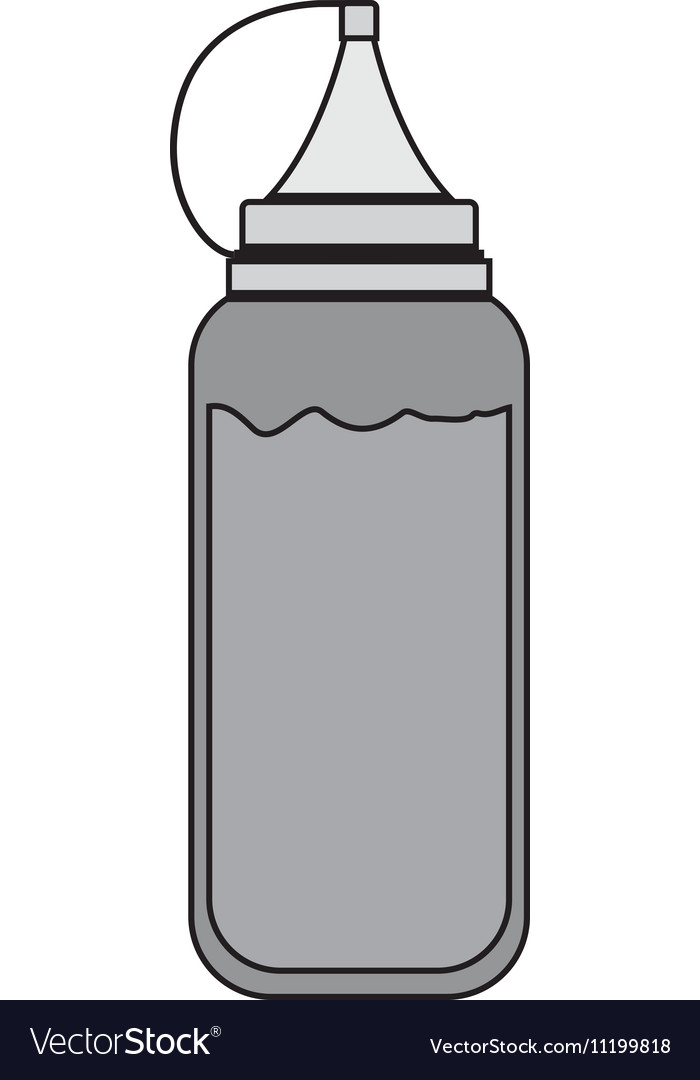 Silhouette gray scale bottle ketchup vector image