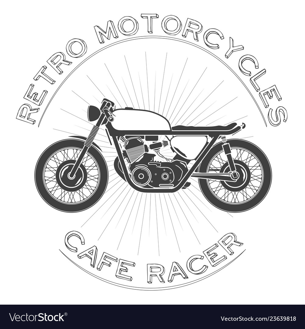 White caferacer vintage motorcycle