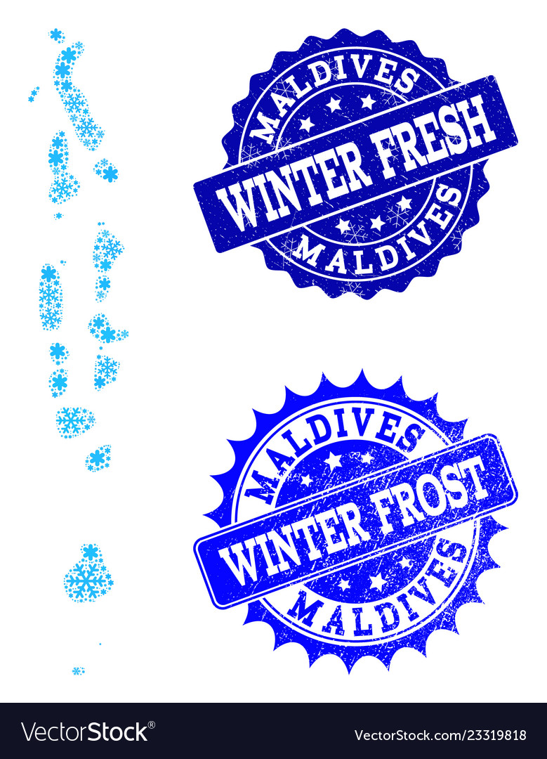Winter map of maldives and winter fresh and frost Vector Image