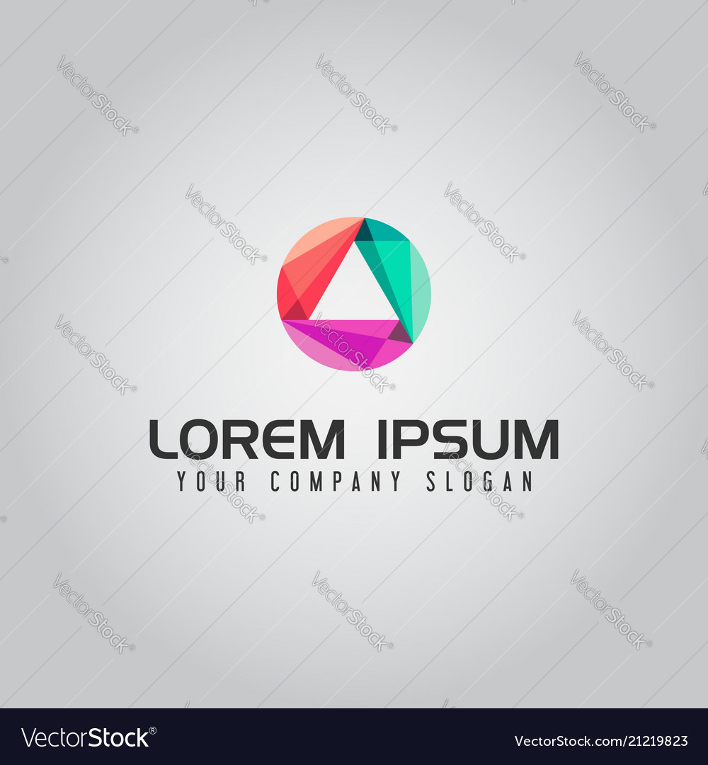 Abstract media technology triangle logo design