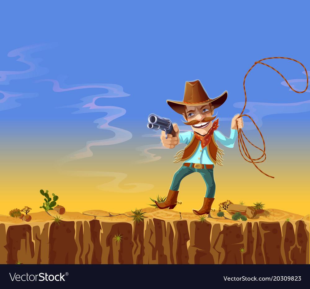 Cartoon american cowboy with gun and lasso vector image