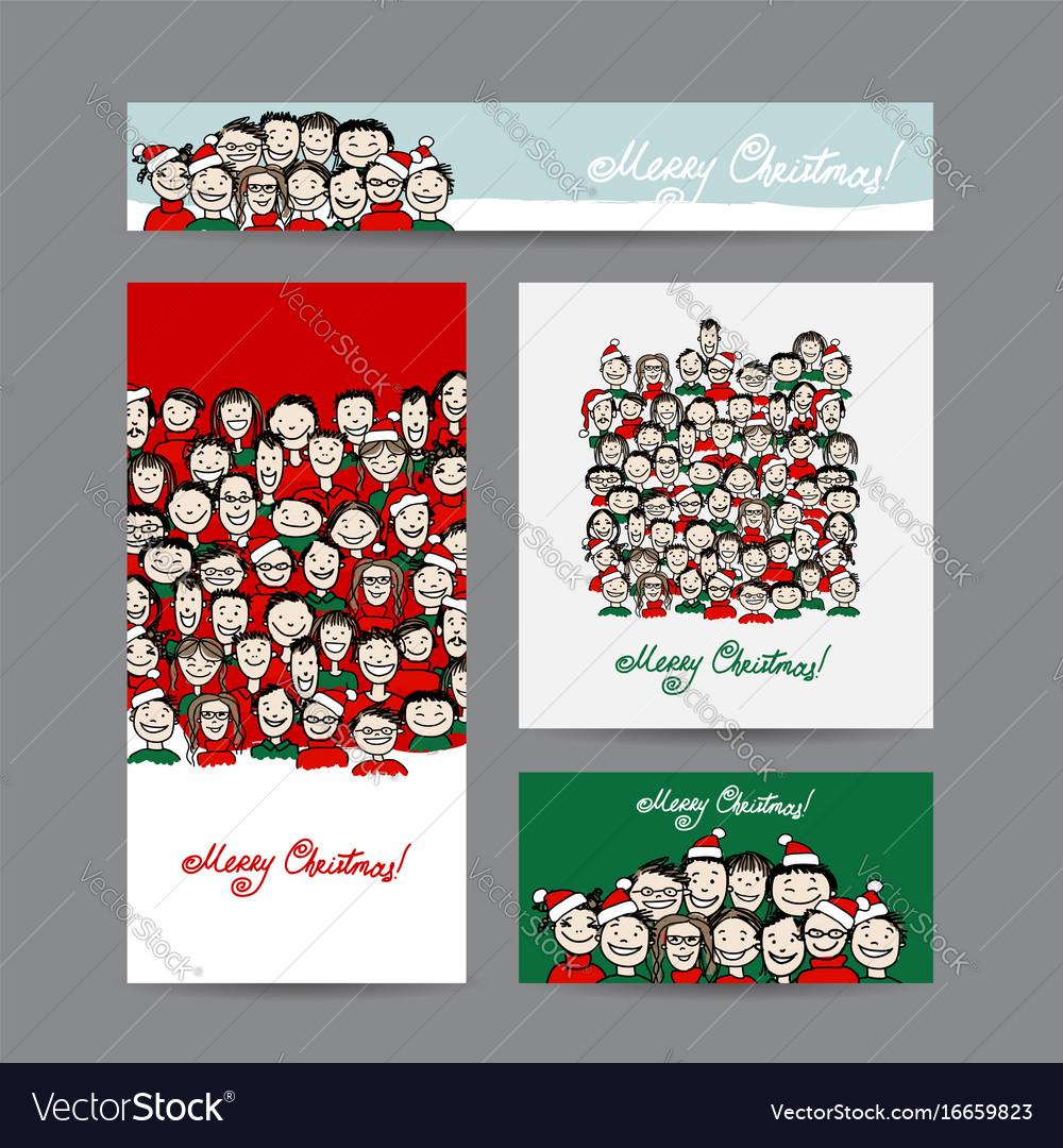 Christmas cards with people crowd for your design