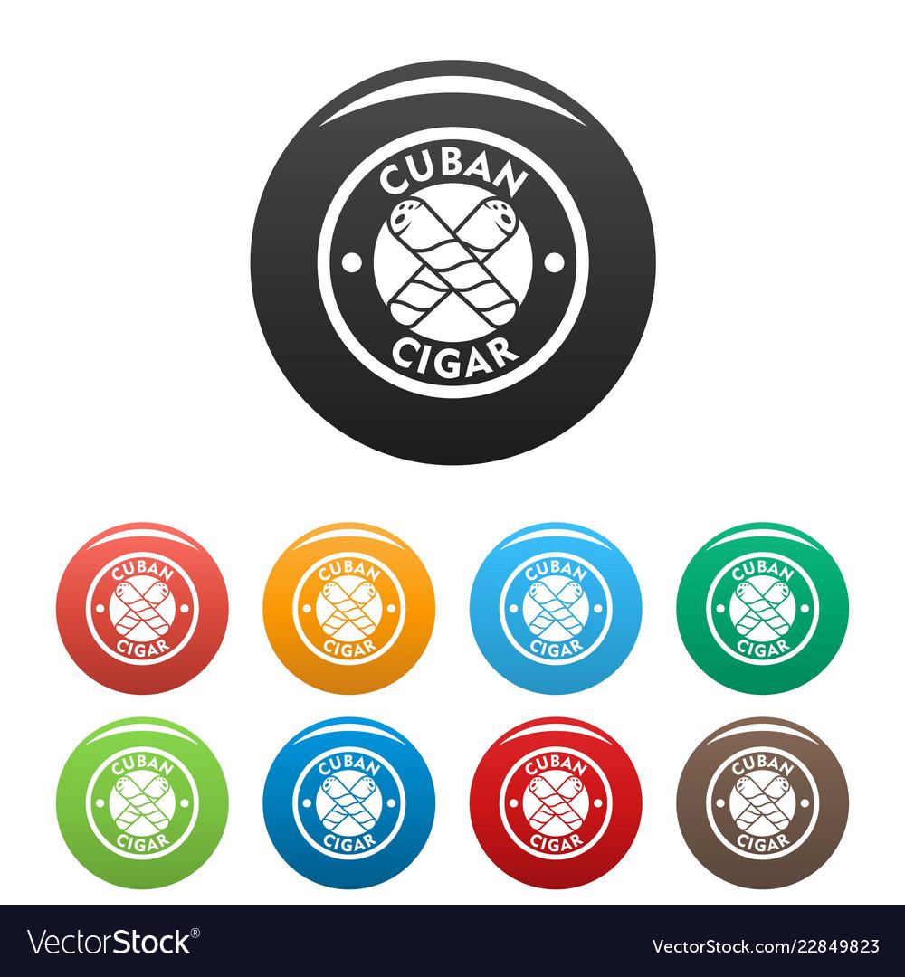Cuban fresh cigar icons set color