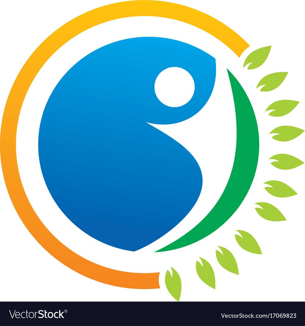 Eco people abstract organic logo