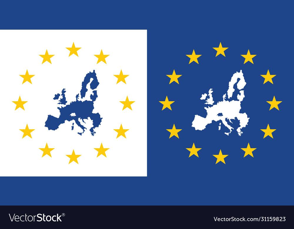 European union map sign eu made label