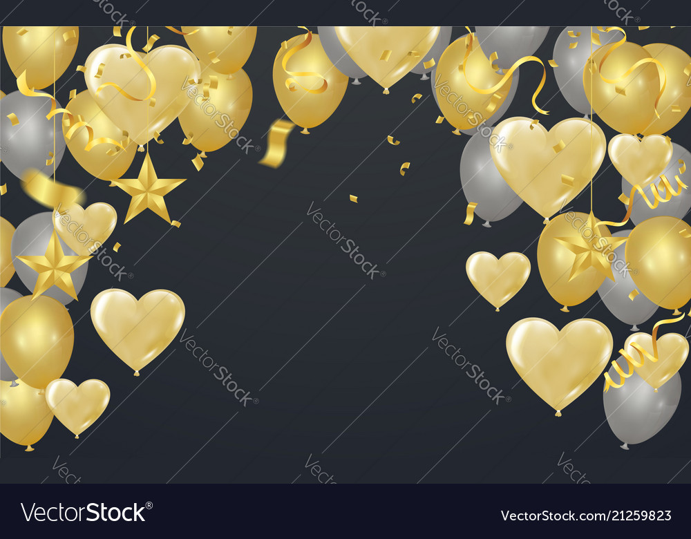 Gold background with balloons and heart balloons