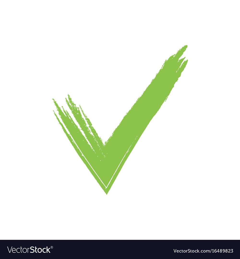 hand drawn green grunge check mark royalty free vector image