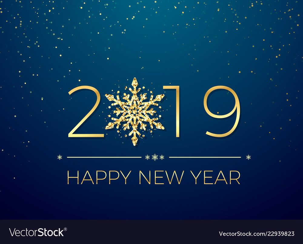 Happy new year 2019 greeting card text design new