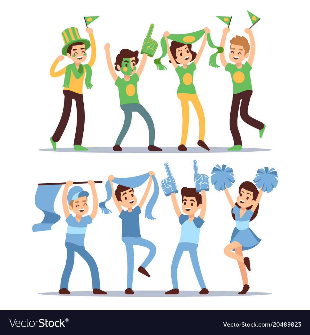 Happy sports fun teams group shouting supporting