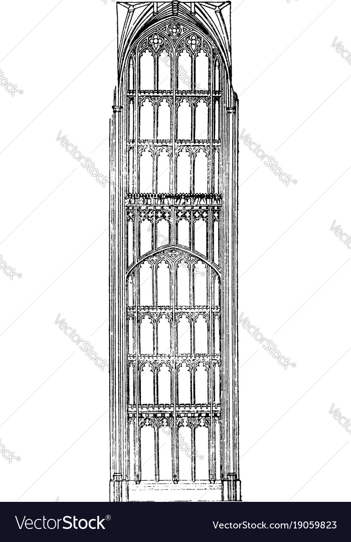 Perpendicular Style English Gothic Architecture Vector Image