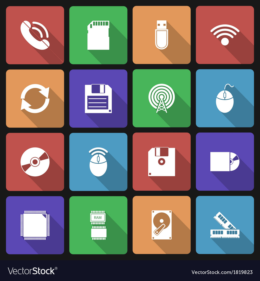 Set of Technology Icons with Long Shadow vector image