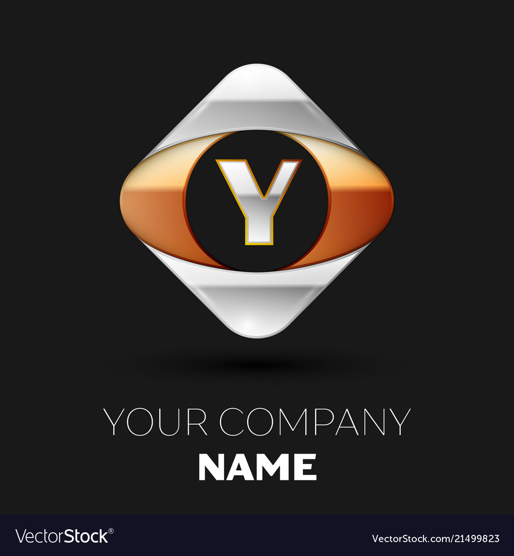 Silver Letter Y Logo Symbol In The Square Shape Vector Image
