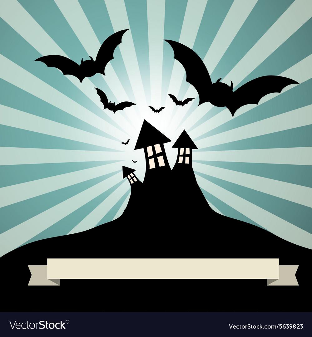 Spooky Castle with Bats - Retro Template vector image