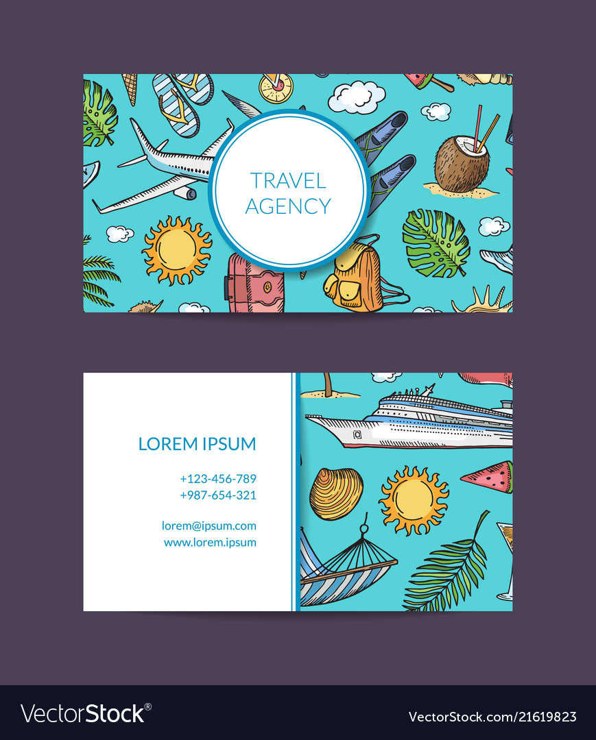 Summer travel elements business card