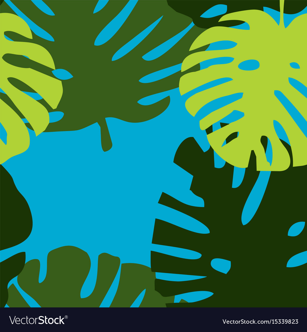 Tile tropical pattern with green exotic leaves