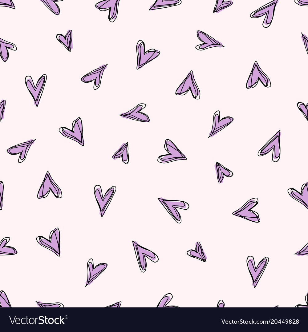 Abstract doodle pattern with hand drawn hearts