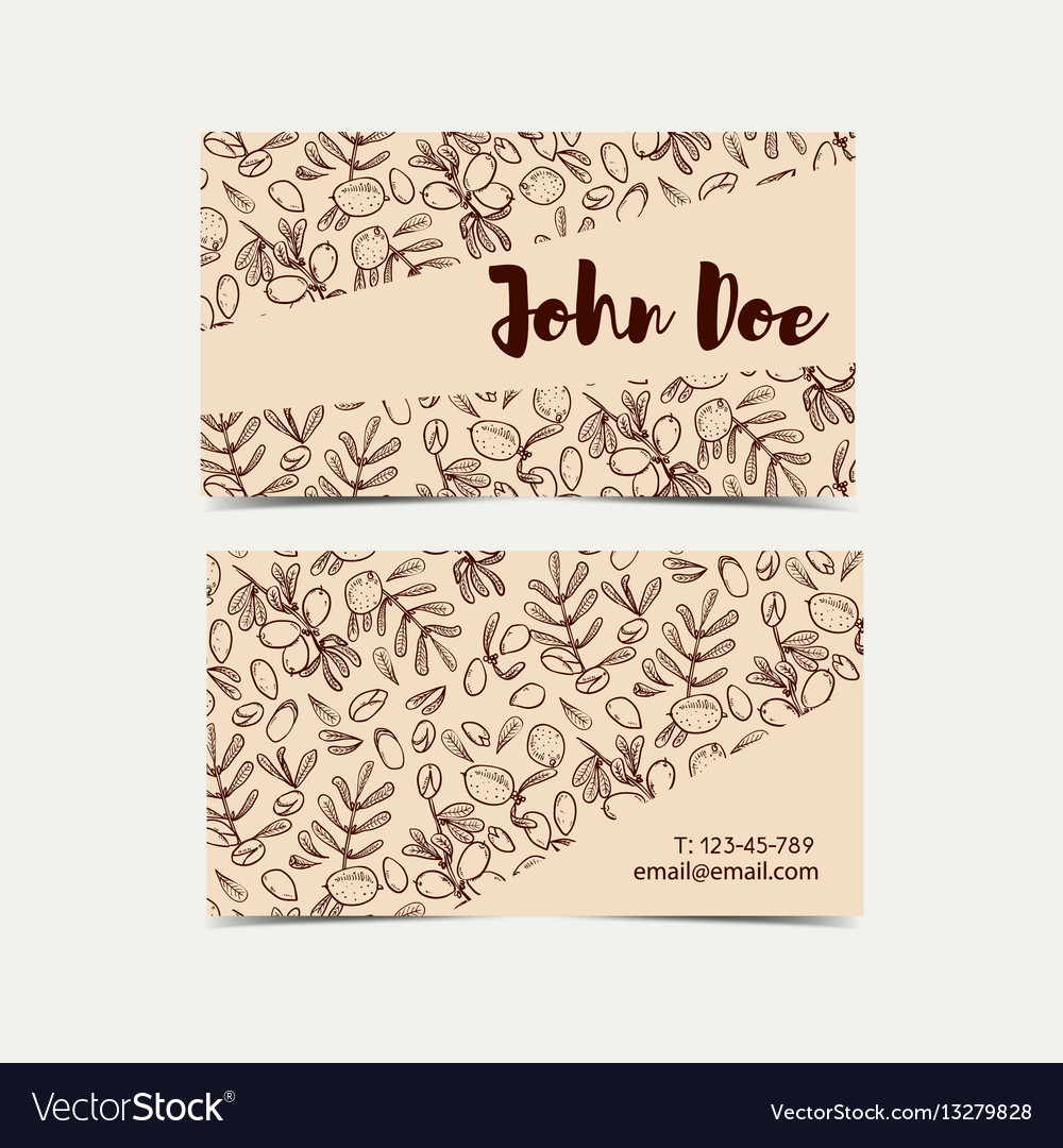 argan business cards eco style in natural colo vector image