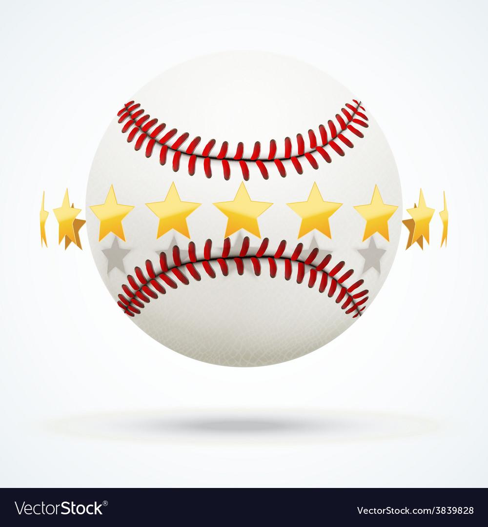 Baseball leather ball with vector image