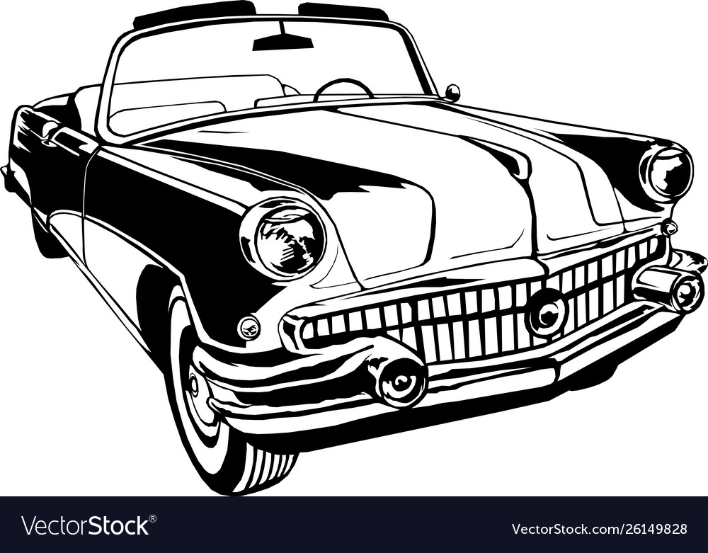 Cabriolet 1950-60s retro vintage monogram